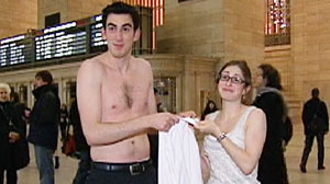 Photo: Commuters in New Yorks Grand Central Terminal take the Made in America challenge