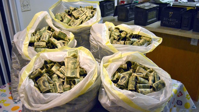 PHOTO:&nbsp;Josh Ferrin stumbled across about $45,000 in cash and coins in his new house.