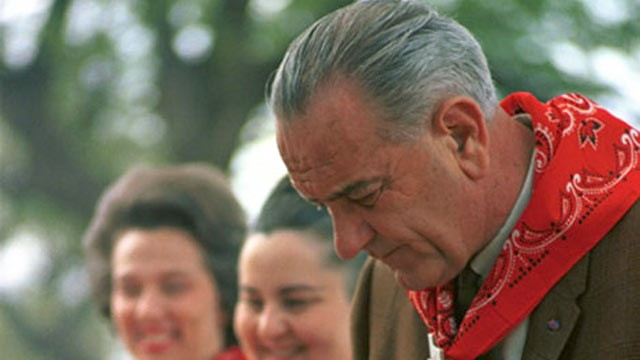 PHOTO: President Lyndon B Johnson attends a barbecue in this undated file photo.