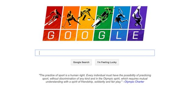 PHOTO: Google Inc. updated its iconic search page logo to depict illustrations of athletes skiing, sledding, curling and skating against a rainbow-colored backdrop, Feb. 6, 2014.