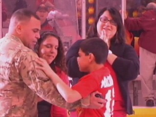 Watch: Soldier Surprises Family at Hockey Game