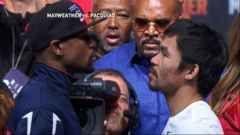 VIDEO: Million Dollar Stare-Down: Mayweather vs. Pacquiao