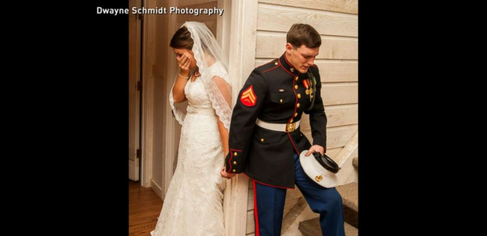 VIDEO: No Peeking at Each Other Before the Wedding Even If You Are a Marine