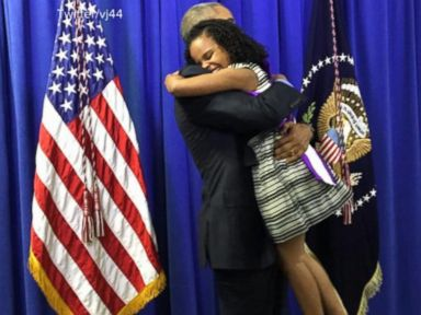 Watch:  'Little Miss Flint' Tells David Muir Hugging President Obama Was 'Amazing'