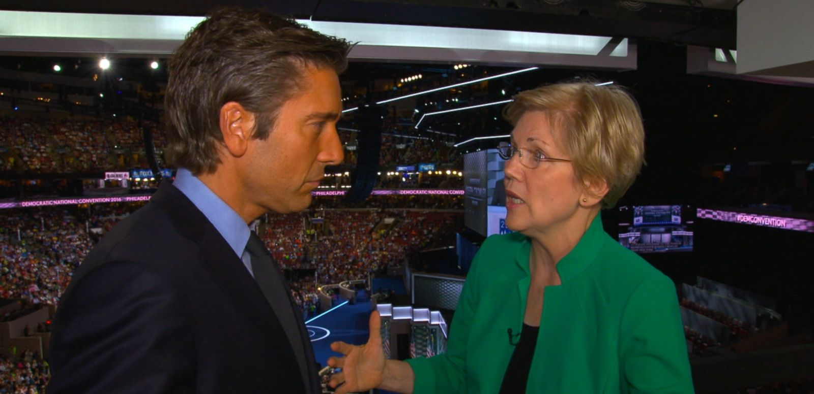 VIDEO: The Massachusetts senator spoke to ABC News' David Muir at the Democratic National Convention.
