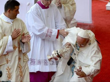 WATCH:  Index: Pope Francis Takes a Fall While Saying Mass in Poland