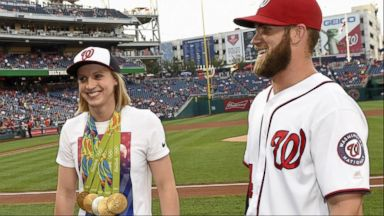 VIDEO: US Gold Medalist Katie Ledecky Throws Out 1st Pitch at Nationals Game