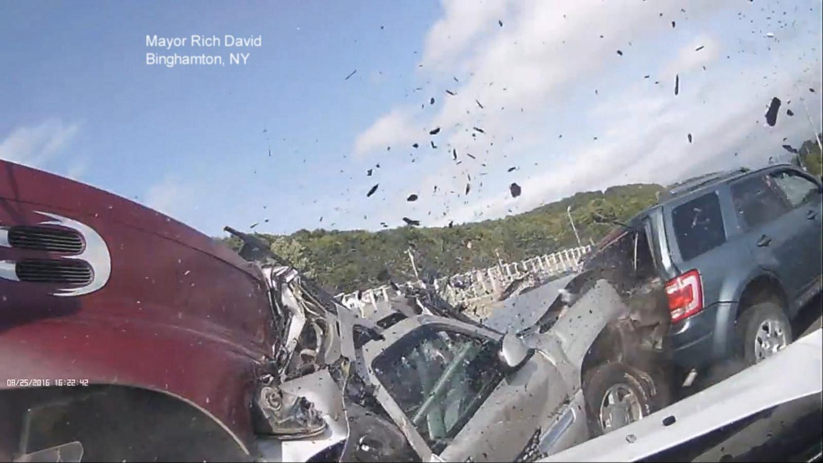 VIDEO: Dashcam Video Shows Massive Car Pileup, Dramatic Rescue