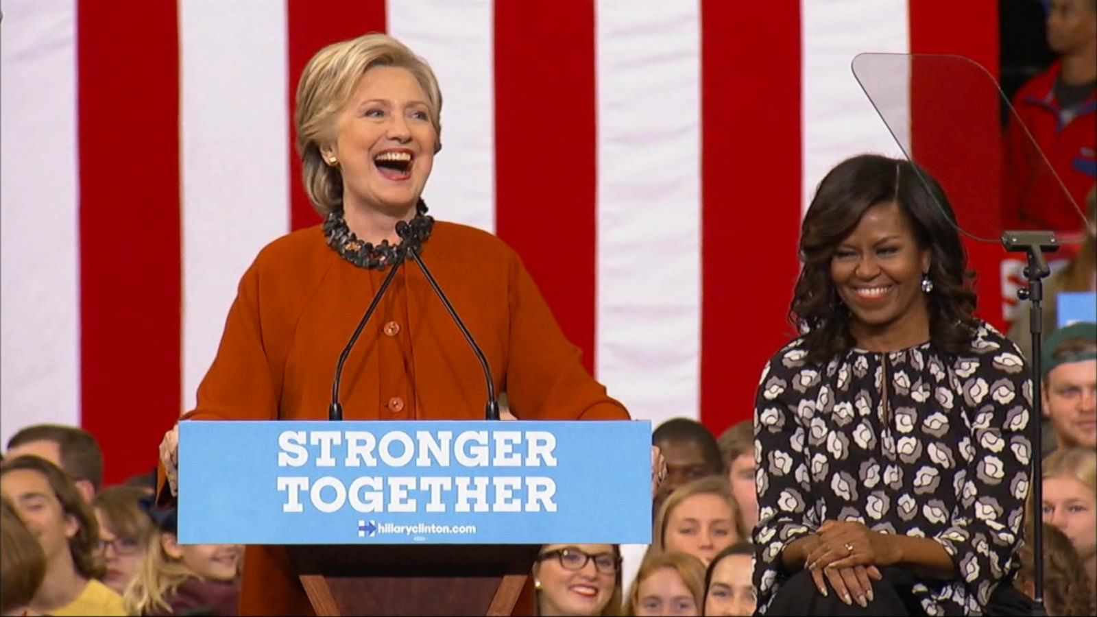 VIDEO: Michelle Obama Joins Hillary Clinton on the Campaign Trail