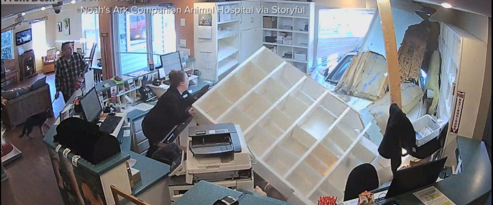 VIDEO: Runaway car crashes into reception area of a North Carolina animal clinic