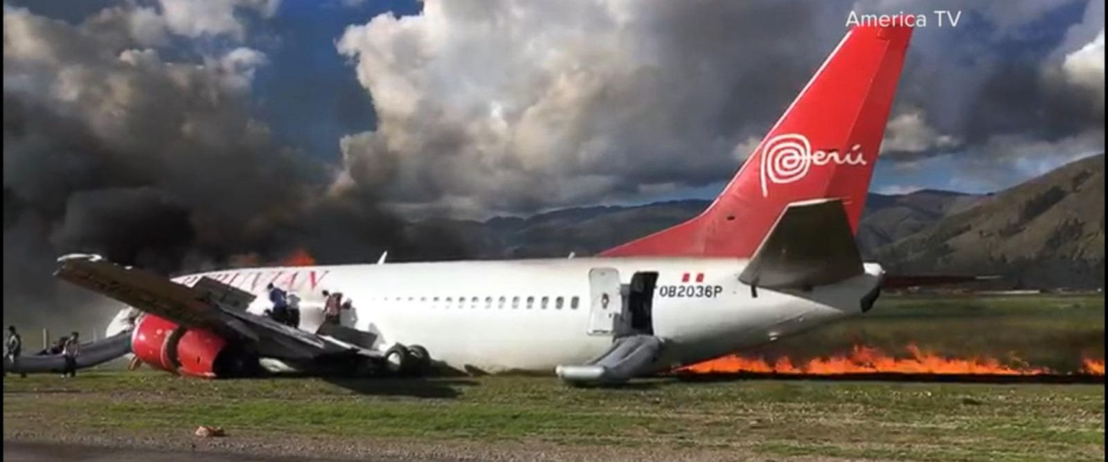 VIDEO: Burning passenger jet's emergency landing in Peru