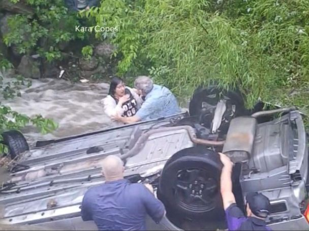 WATCH:  A dramatic rescue after a car goes into a creek in Oklahoma