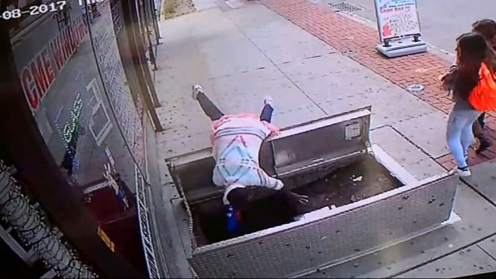 VIDEO: Index: Woman texting plunges 6 feet down into a cellar