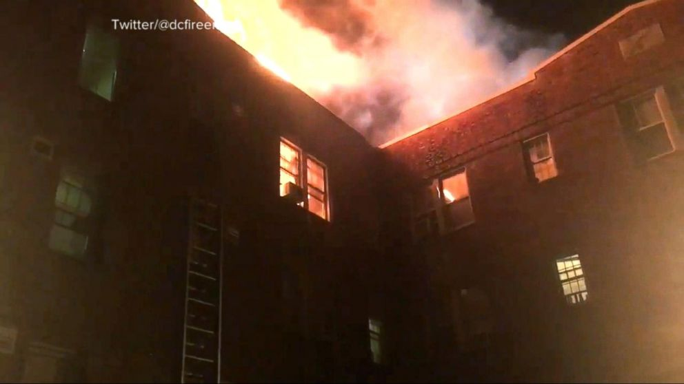 VIDEO: Fire sweeps through Washington, D.C., apartment