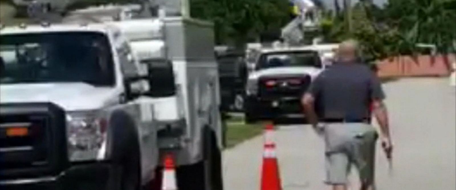 VIDEO: Retired firefighter shoots at utility trucks parked by his Florida home