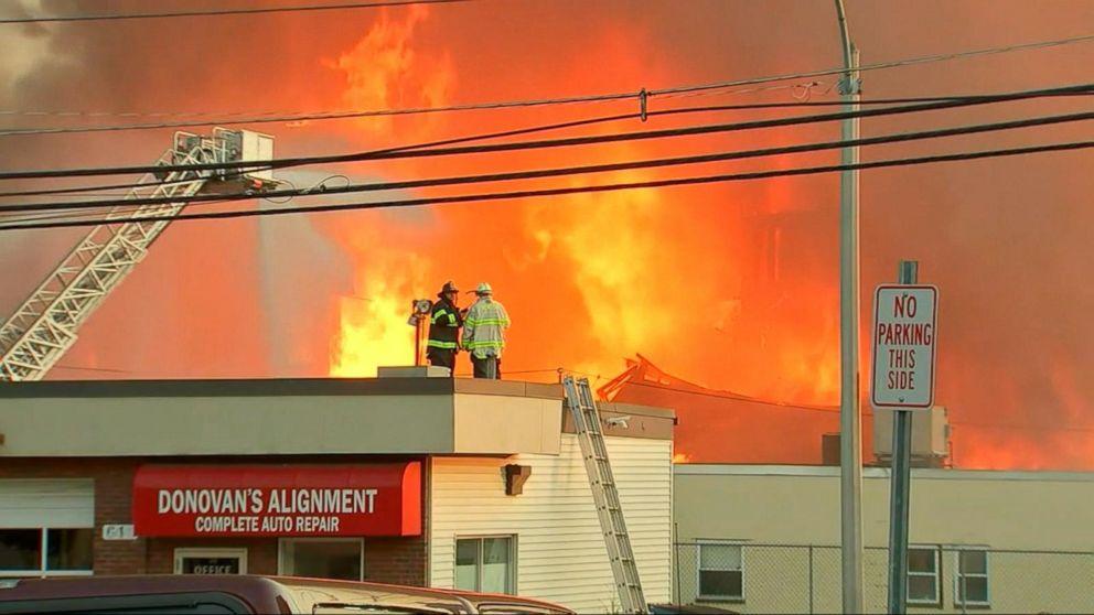 Massive fire destroys apartment complex outside of Boston