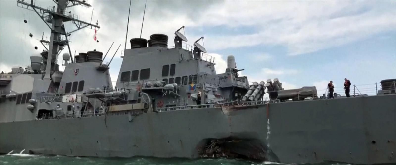 VIDEO: Another violent collision involving a Navy destroyer