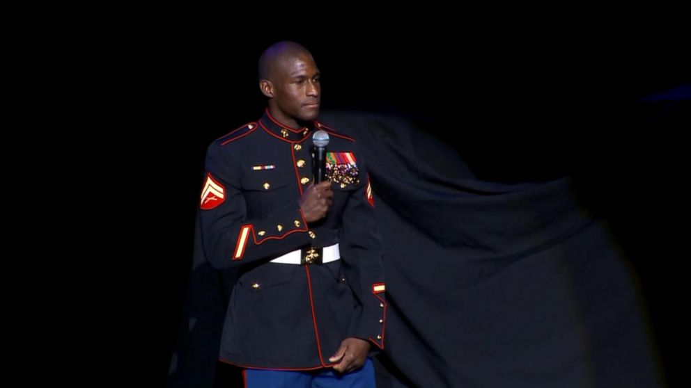 Marine veteran returns home with inspirational message