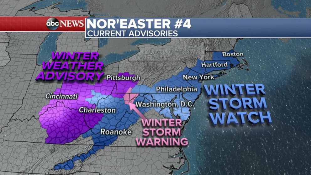 East Coast braces for possible 4th nor'easter in 3 weeks