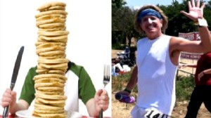 VIDEO: While Greg Hardesty burns 10,000 calories, his son Rio eats 10,000 calories.