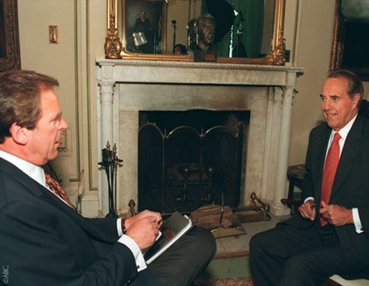 ABC News' Peter Jennings (left) interviewed Bob Dole about tobacco addiction.