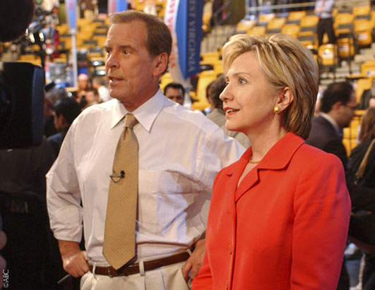 ABC News' Peter Jennings and Senator Hillary Rodham Clinton visit the convention floor