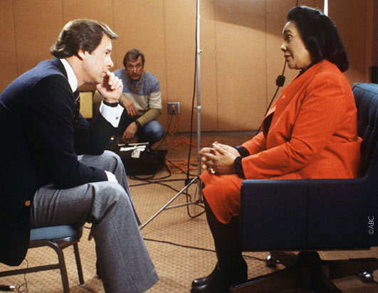 ABC News correspondent Peter Jennings talked with Coretta Scott King