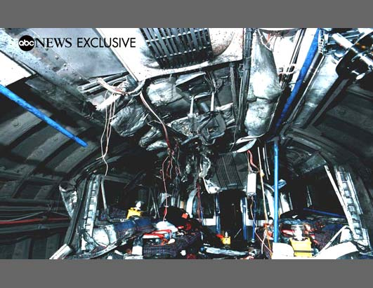 This exclusive photograph shows the inside of the train between London's Kings Cross and Russell Square Underground stations, where 27 people were killed.