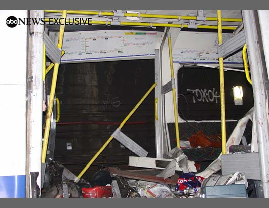 Exclusive photographs obtained by ABC News offer a glimpse of the devastation inside the London subway lines after the July 7th attacks. This photo shows the inside of the train after it had been attacked between the Liverpool Street and Aldgate Undergrou