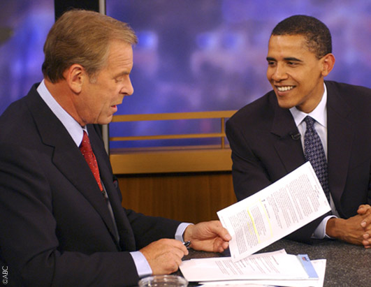 ABC News'  Peter Jennings talked to keynote speaker Illinois Sen. Barack Obama at the convention