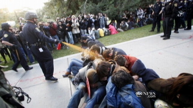 VIDEO: Campus police under fire for pepper spraying students during Occupy protest.