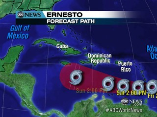 Watch: Ernesto Heads Toward East Coast