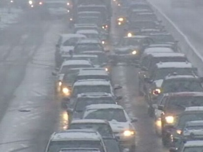 VIDEO: ABC News reporter documents six hours stuck on the road.
