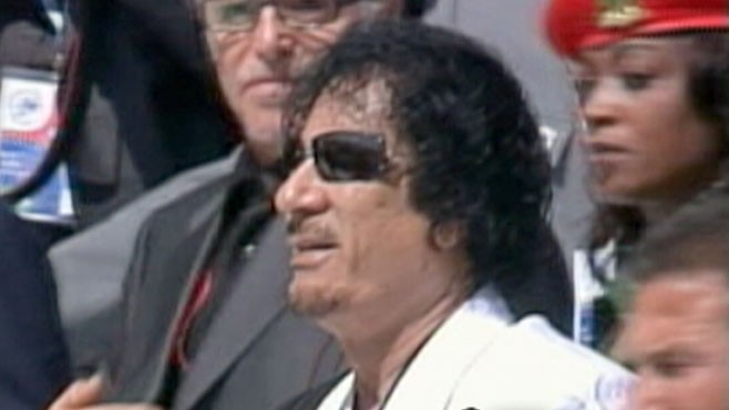 VIDEO: The Libyan leader continues to show off his strength despite protest.