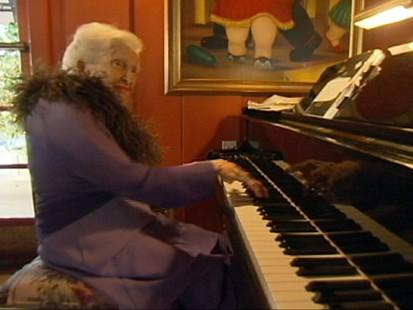 VIDEO: Gertrude Matthews says twice-weekly performances are key to her longevity.