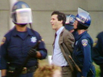 Picture of Charlie Gibson being arrested.