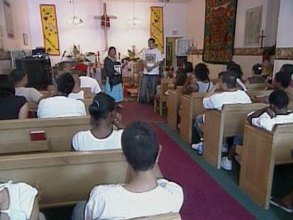 Immigrants in a church