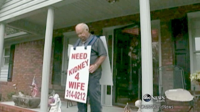 VIDEO:Larry Swilling carried sign pleading for kidney donor to save dying wife.