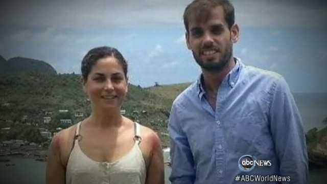 VIDEO: Dan, Kate Suski swim across shark-infested waters after fishing boat sinks in St. Lucia.