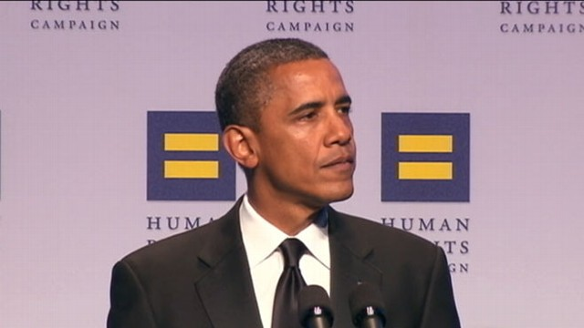 VIDEO: Obama lambasted Republican hopefuls for not defending an openly gay soldier.