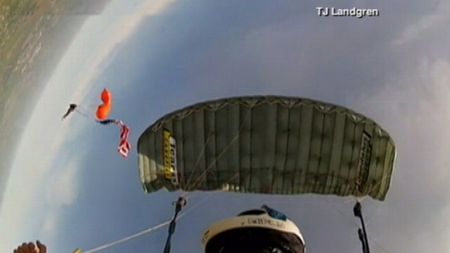 VIDEO: Craig Stapleton plummeted to Earth at 30 mph when his parachute became tangled.