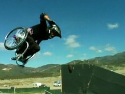 """VIDEO: """"Wheels"""" inspires friends and family with remarkable wheelchair tricks."""