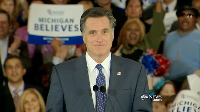 VIDEO: Winner of the Michigan and Arizona primaries, Mitt Romney looks ahead.