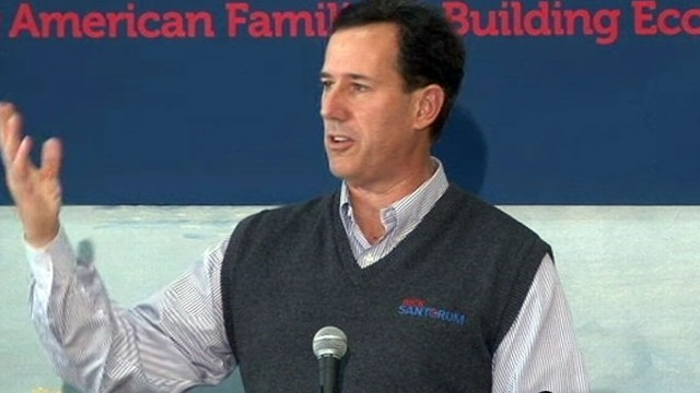 VIDEO: The former senator now leads Romney by double digits in national polls.