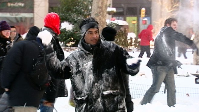 Video: Snowball Fight in Madison Sq. Park