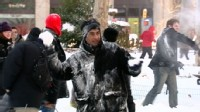 VIDEO: A group of people in NYCs Madison Square Park take part in a snowball fight.