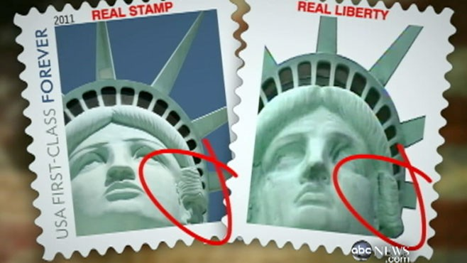 VIDEO: Postal Service admits the Lady Liberty stamp does not show the actual statue.