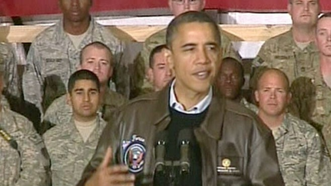 VIDEO: The president talks to the troops to raise morale before the holidays.