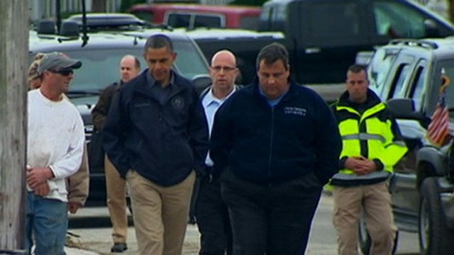 VIDEO: The president was joined by N.J. Gov. Chris Christie on his visit to hurricane-affected areas.