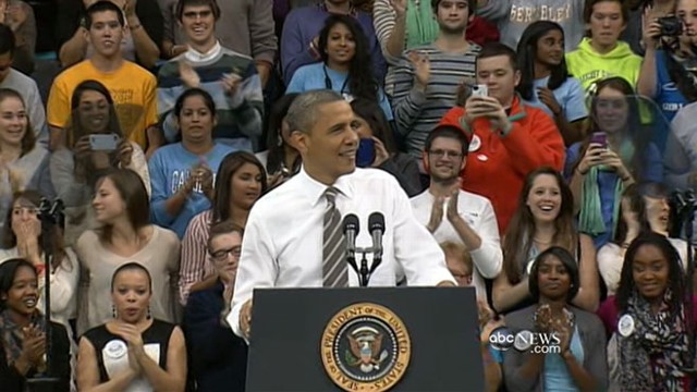 VIDEO: President battles apathy among college voters.